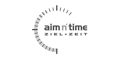 Logo von aim n`time in grau